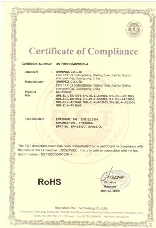 Сертификат качества футболок с эквалайзером ROHS